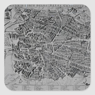 Map of Madrid Square Sticker