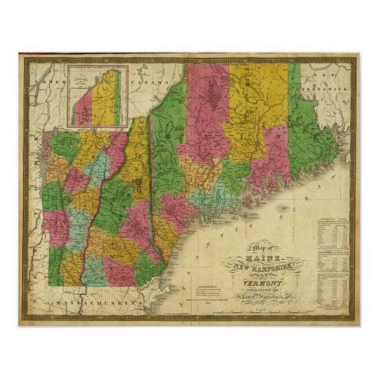Map of Maine, New Hampshire, and Vermont Poster