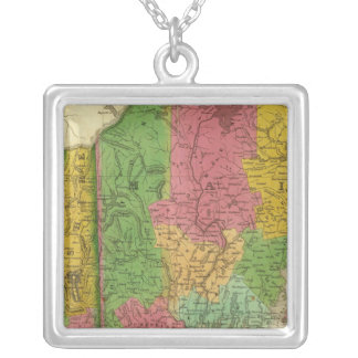 Map of Maine, New Hampshire, and Vermont Silver Plated Necklace