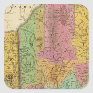 Map of Maine New Hampshire And Vermont Square Sticker