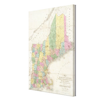 Map of Maine, New Hampshire, Vermont Canvas Print