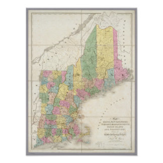 Map of Maine, New Hampshire, Vermont Poster