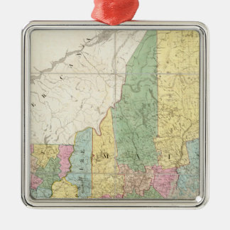 Map of Maine, New Hampshire, Vermont Silver-Colored Square Decoration