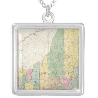 Map of Maine, New Hampshire, Vermont Silver Plated Necklace