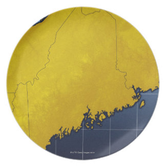 Map of Maine Plate