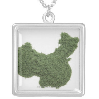 Map of Mainland China made of grass 2 Silver Plated Necklace