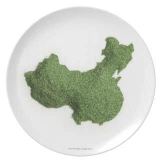 Map of Mainland China made of grass Plate