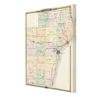 Map of Manitowoc County, State of Wisconsin Canvas Print