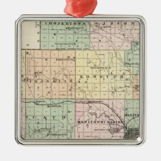 Map of Manitowoc County, State of Wisconsin Christmas Ornament