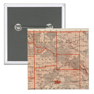 Map of Marion County, State of Iowa 15 Cm Square Badge