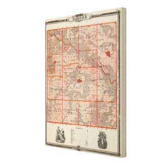Map of Marion County, State of Iowa Canvas Print
