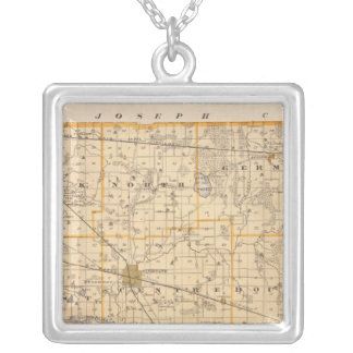 Map of Marshall County Silver Plated Necklace