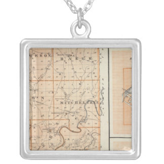 Map of Martin County with Shoals, Loogootee Silver Plated Necklace