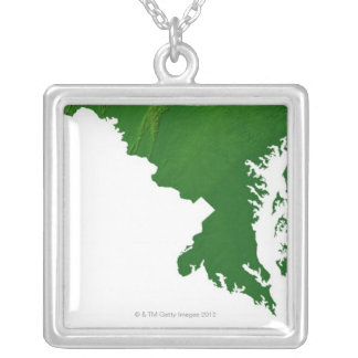 Map of Maryland 3 Silver Plated Necklace