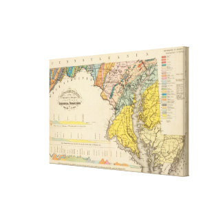 Map of Maryland and the District of Columbia Canvas Print