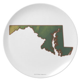 Map of Maryland Plate
