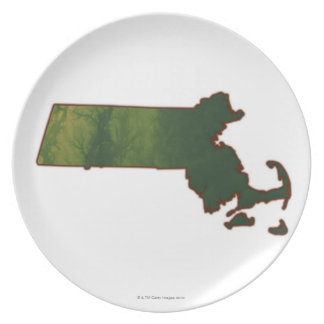 Map of Massachusetts 3 Plate