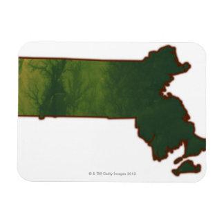 Map of Massachusetts 3 Rectangular Photo Magnet
