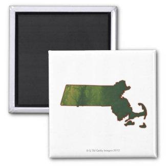 Map of Massachusetts 3 Square Magnet