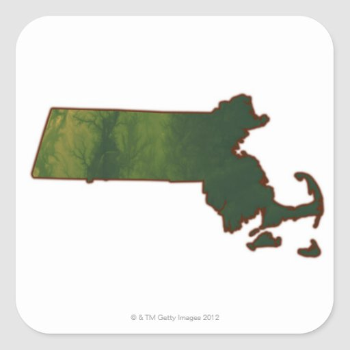Map of Massachusetts 3 Square Stickers