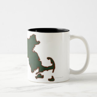 Map of Massachusetts 3 Two-Tone Coffee Mug