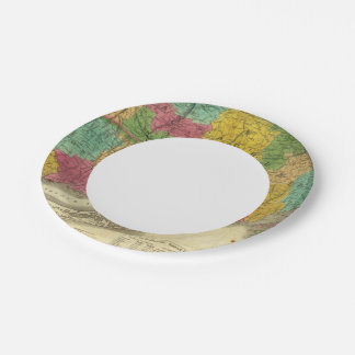 Map of Massachusetts and Connecticut 7 Inch Paper Plate
