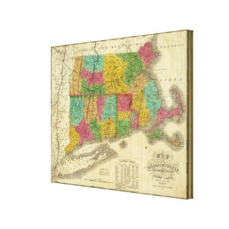 Map of Massachusetts and Connecticut Canvas Print