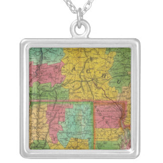 Map of Massachusetts and Connecticut Silver Plated Necklace