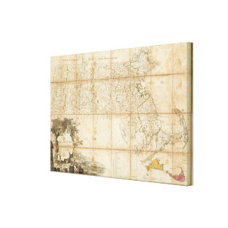 Map Of Massachusetts Canvas Print