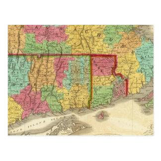 Map of Massachusetts Connecticut And Rhode Island Postcard