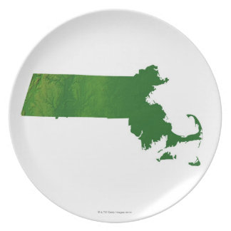 Map of Massachusetts Dinner Plates