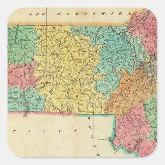 Map Of Massachusetts Square Sticker