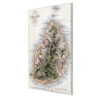 Map of Mauritius, illustration 'Paul et Virginie' Canvas Print