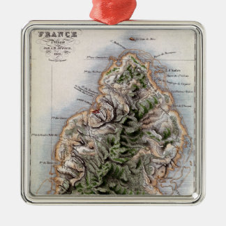 Map of Mauritius, illustration 'Paul et Virginie' Christmas Ornament