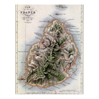 Map of Mauritius, illustration 'Paul et Virginie' Postcard