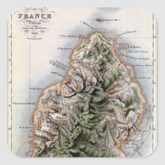Map of Mauritius, illustration 'Paul et Virginie' Square Sticker