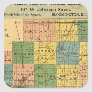 Map of McLean County, Illinois 1886 Square Sticker