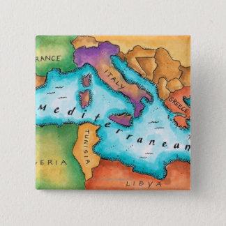 Map of Mediterranean Sea 15 Cm Square Badge
