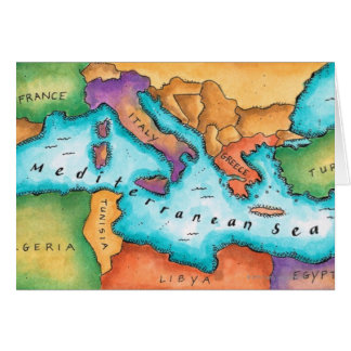 Map of Mediterranean Sea Card