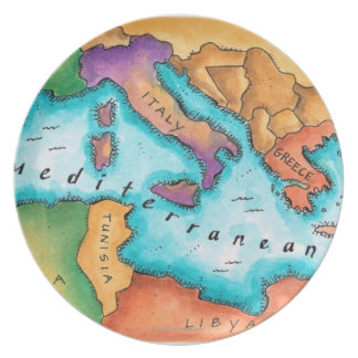 Map of Mediterranean Sea Dinner Plates