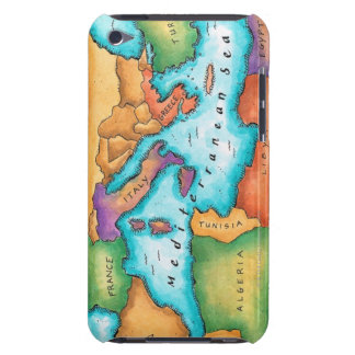 Map of Mediterranean Sea iPod Case-Mate Cases