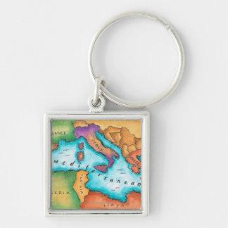 Map of Mediterranean Sea Key Ring