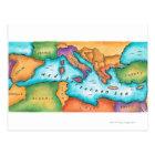Map of Mediterranean Sea Postcard