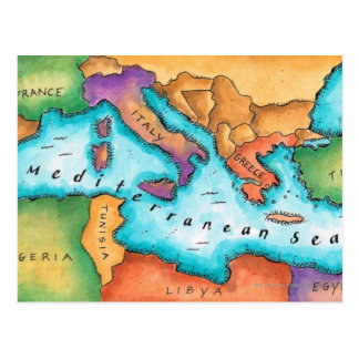 Map of Mediterranean Sea Postcard