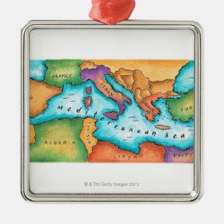 Map of Mediterranean Sea Silver-Colored Square Decoration