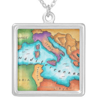 Map of Mediterranean Sea Silver Plated Necklace