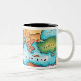 Map of Mediterranean Sea Two-Tone Coffee Mug