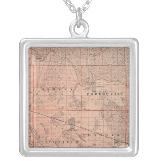 Map of Meeker County, Minnesota Silver Plated Necklace