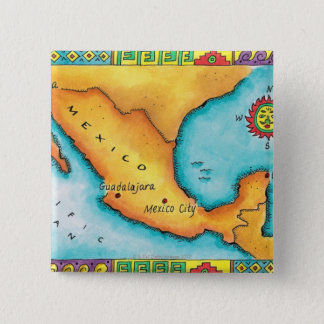 Map of Mexico 15 Cm Square Badge