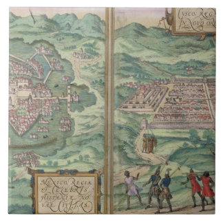 Map of Mexico and Cuzco, from 'Civitates Orbis Ter Tile